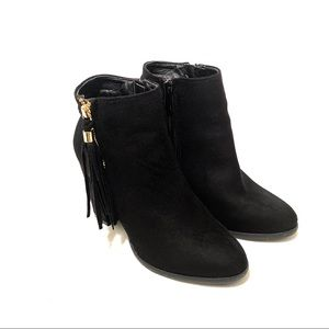 Black Suede booties with tassel zip size 8